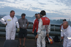 Lucas Luhr after his crash at Porsche Curve
