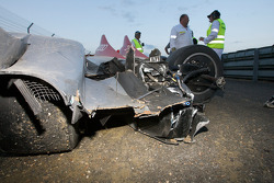 The #2 Audi Sport Team Joest Audi R15 TDI of Lucas Luhr after his crash at Porsche Curve