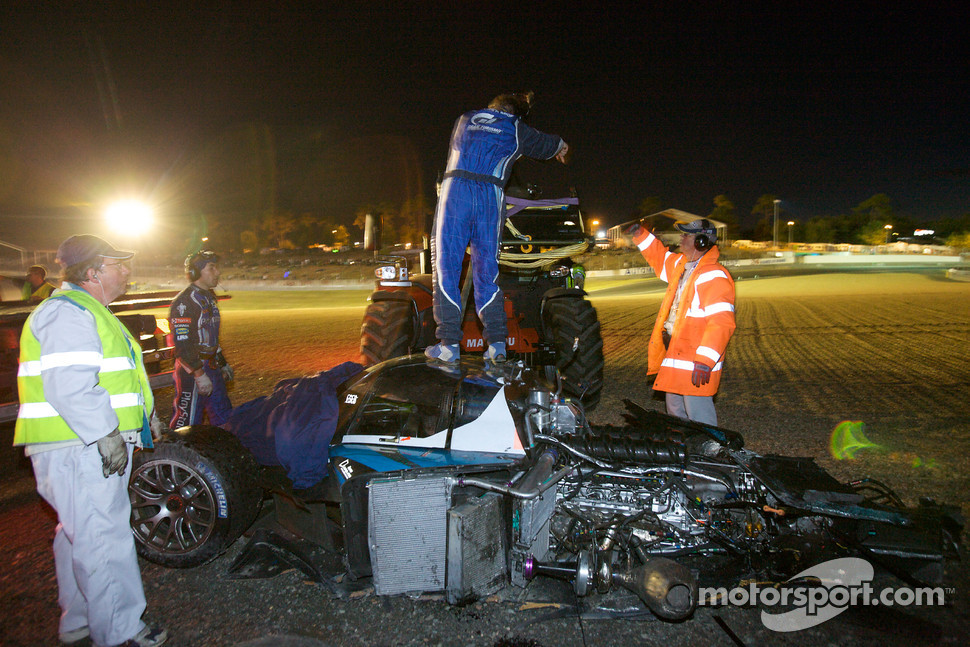 The wrecked #17 Pescarolo Sport Peugeot 908 after the heavy crash of Benoit Tréluyer