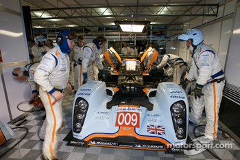 Aston Martin Racing team members work on the #009 Lola Aston Martin