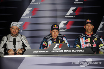 Press conference: pole winner Sebastian Vettel, Red Bull Racing, second place Rubens Barrichello, Brawn GP, third place Mark Webber, Red Bull Racing