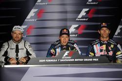 Press conference: pole winner Sebastian Vettel, Red Bull Racing, second place Rubens Barrichello, Brawn GP, third place Mark Webber, Red Bull Racing