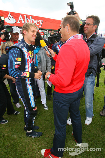 Sebastian Vettel, Red Bull Racing being interviewed by Kai Ebel, RTL Television