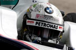 Nick Heidfeld, BMW Sauber F1 Team with a new helmet design