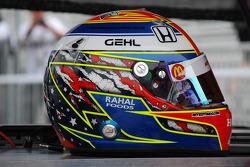 Graham Rahal, Newman/Haas/Lanigan, presents a special helmet design