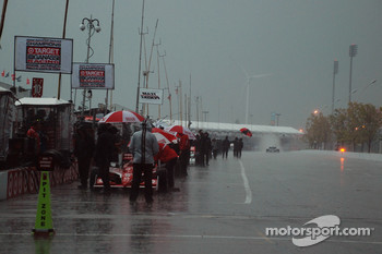 A very wet pitlane