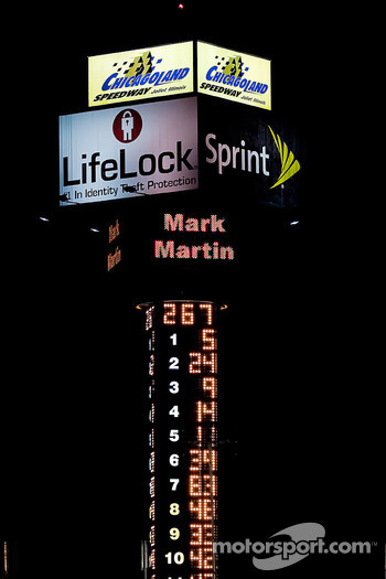 Scoring pylon after the race