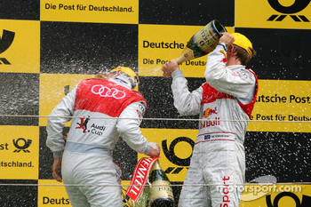 Podium, Mattias Ekström, Audi Sport Team Abt, spraying champaign over Oliver Jarvis, Audi Sport Team Phoenix
