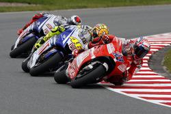 Casey Stoner, Ducati Team, Valentino Rossi, Fiat Yamaha Team, Jorge Lorenzo, Fiat Yamaha Team
