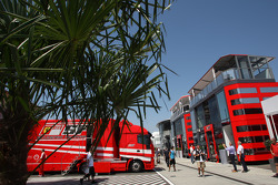 Ferrari trucks and motorhome in the paddock