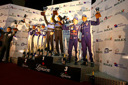 LMP2 podium: class winners Miguel Amaral and Olivier Pla, second place Filippo Francioni, Andrea Ceccato and Giacomo Piccini, third place Karim Ojjeh, Claude-Yves Gosselin and Philipp Peter