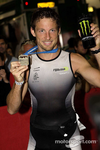 Jenson Button, Brawn GP during the London triathlon