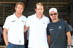 Jenson Button, Brawn GP with Olympic Champion Ben Ainslie and Rubens Barrichello, Brawn GP