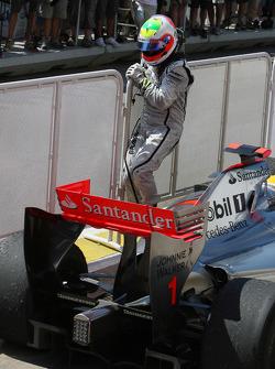 Rubens Barrichello, BrawnGP nearly gets run over by Lewis Hamilton, McLaren Mercedes in parc ferme