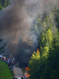 A fire in the forest before F1 Practice