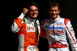 Giancarlo Fisichella, Force India F1 Team, VJM-02, Pole Position, 2nd, Jarno Trulli, Toyota F1 Team