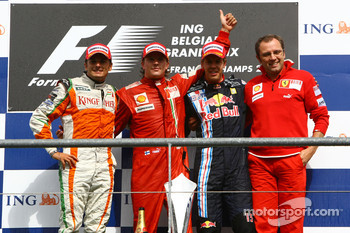 l-r, 2nd, Giancarlo Fisichella, Force India F1 Team, 1st, Kimi Raikkonen, Scuderia Ferrari, 3rd, Sebastian Vettel, Red Bull Racing and Stefano Domenicali, Scuderia Ferrari, Sporting Director