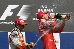 Giancarlo Fisichella, Force India F1 Team and Kimi Raikkonen, Scuderia Ferrari
