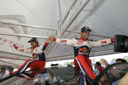 Provisional winners and final second Sébastien Loeb and Daniel Elena celebrate