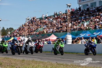 Brett McCormick was penalized for jumping the start of the Superbike race