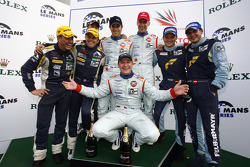 Championship podium: LMGT1 Patrice Goueslard and Yann Clairay, LMP2 champion Olivier Pla, LMP1 champions Jan Charouz, Tomas Enge and Stefan Mücke, LMGT2 champions Marc Lieb and Richard Lietz