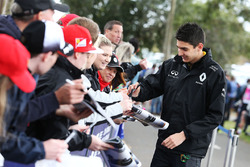 Esteban Ocon, Renault Sport F1 Team Test Driver signs autographs for the fan
