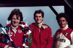 Race winner Rick Morris, series champion and second place Ayrton Senna, third place Alfonso Toledano