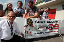 Dieter Soucek the Father of Andy Soucek celebrates third place and the Championship win in Parc Ferme