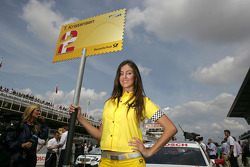 Grid girl of Tom Kristensen, Audi Sport Team Abt Audi A4 DTM