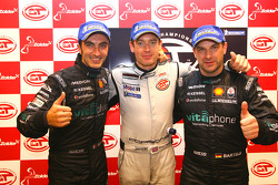 Post-race press conference: FIA-GT GT1 champions Michael Bartels and Andrea Bertolini with FIA-GT GT2 champion Richard Westbrook