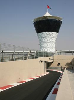 The pit lane exit of New Abu Dhabi Yas Marina Circuit
