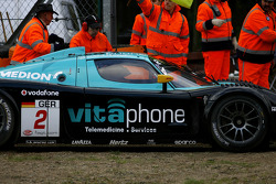Incident at the Gilles-Villeneuve chicane: #2 Vitaphone Racing Team Maserati MC 12: Miguel Ramos, Alex Müller
