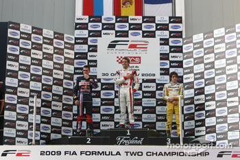 Mikhail Aleshin, race winner Andy Soucek and Tristan Vautier on the podium
