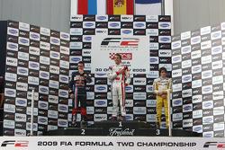 Mikhail Aleshin, race winner Andy Soucek and Tristan Vautier on the podium