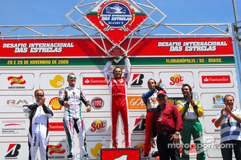 Second race podium: winner Felipe Massa, second place Michael Schumacher, third place Vitor Meira