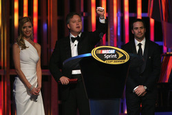 NASCAR Chairman and CEO Brian France introduces Four time NASCAR Sprint Cup Series Champion Jimmie Johnson and his wife Chandra Johnson