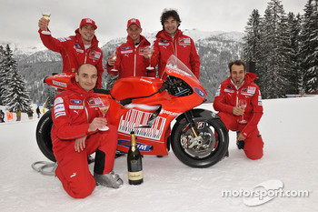 Claudio Domenicali, Nicky Hayden, Casey Stoner and Vittoriano Guareschi present the new Ducati Desmosedici GP10