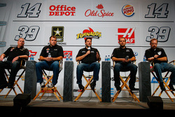 No. 39 crew chief Tony Gibson, NASCAR Sprint Cup Series drivers Ryan Newman and Tony Stewart, No. 14 crew chief No. Darian Grubb and Stewart-Haas Racing competition director Bobby Hutchens
