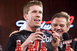 Carl Edwards, Roush Fenway Racing Ford, draws the pole winning bottle