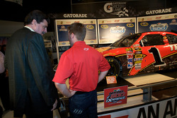 Champion's breakfast: 2010 Daytona 500 winner Jamie McMurray with NASCAR President Mike Helton