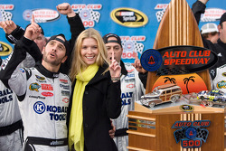 Victory lane: race winner Jimmie Johnson, Hendrick Motorsports Chevrolet celebrates with his lovely wife Chandra