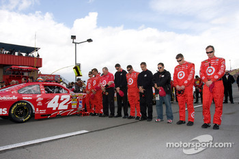 Earnhardt Ganassi Racing Chevrolet crew during National Anthem