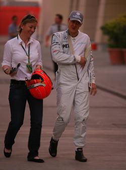 Sabine Kehm, Michael Schumacher's press officer with Michael Schumacher, Mercedes GP