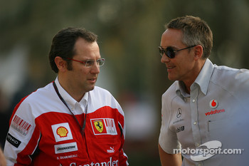 Stefano Domenicali Ferrari General Director with Martin Whitmarsh, McLaren, Chief Executive Officer