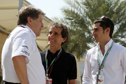Norbert Haug, Mercedes, Motorsport chief, Alain Prost and his son Nicolas Prost