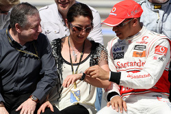 Jean Todt, FIA president, Michelle Yeoh, ex. James Bond girl, actor, Girlfriend of Jean Todt, Lewis Hamilton, McLaren Mercedes