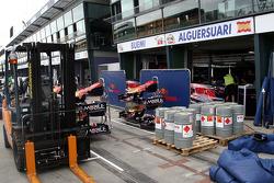 Race preparations, the garage of Scuderia Toro Rosso