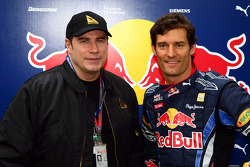 John Travolta with Mark Webber, Red Bull Racing