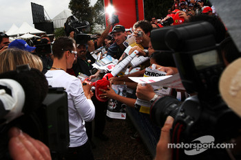 Michael Schumacher, Mercedes GP signing autographs