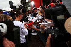 Michael Schumacher, Mercedes GP signing autographs